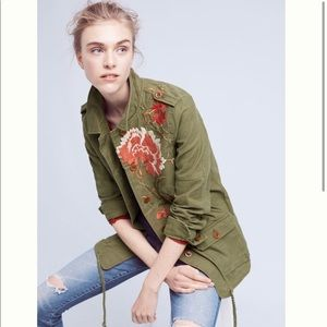 Anthropologie Embroidered Field Jacket